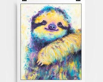Sloth Print - Sloth Gift, Sloth Art Print, Cute Sloth Gifts for Her, Sloth Gifts for Him, Sloths, Sloth Decor, Sloth Wall Art.