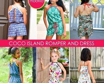 COCO Island Romper and Dress PDF Downloadable Pattern by MODKID... sizes 2T to 12 Girls included - Instant Download