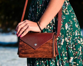 "Woman wood bag ""Almond"" Clutch Leather handmade bag Wooden bag Wood woman bag Shoulder bag Purse Messenger bag Women handbag Crossbody bag"