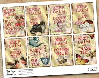 Digital ATC Aceo Collage Sheet - Marie Antoinette Funny Keep Calm Quotes - INSTANT DOWNLOAD - Tutu Cupcake Butterfly Teapot Cat Bird CS23C