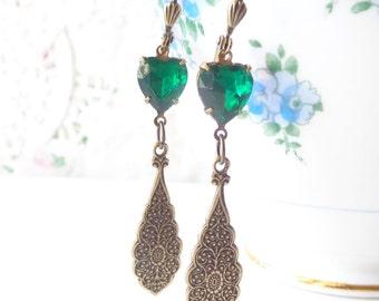 Vintage Emerald Heart Rhinestone Earrings - Green Jewel - Bohemian Dangle Earrings - May Birthstone