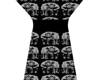 Bespoke Creature Feature B-Movie Horror Sci-fi Grey Black Tunic Dress - Custom printed fabric!