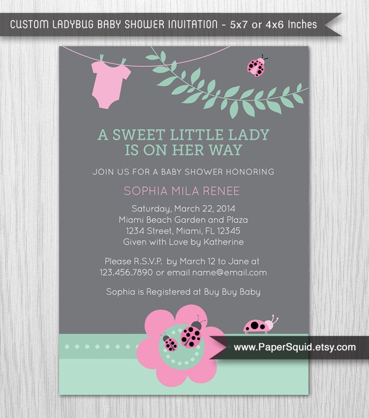 Ladybug Baby Shower Invitation Pink Mint Green Gray