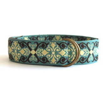 Teal and Brown Scroll Belt -SALE
