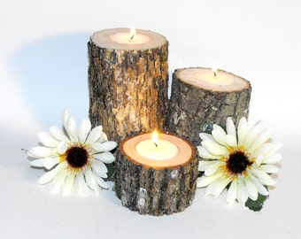 6 Tree branch Rustic Wood Candle holder ~ Romantic lighting ~ Rustic Wedding Table decoration ~ Anniversary Party light ~ birthday