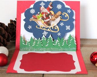 Handmade Pop Up Christmas Card, Merry Christmas, Santa Sleigh, Snow Covered Forest, Trees, One of a Kind, Blank Inside