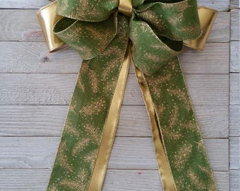 Bow, Ribbon, Wired Bow, Green, Gold, Wired Ribbon, Door, Gift Bow, Large, Wired Bow, All Season Bow, Wreath Bow, Basket Bow, Fall, Winter