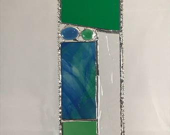 Unique Stained Glass Suncatcher Panel - Green/Blue/Textured Clear