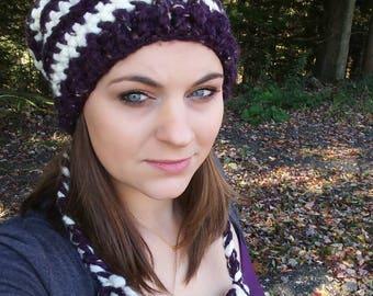 Purple hat, slouch beanie, slouchy beanie, winter hat, purple winter hat, striped winter hat, wool winter hat,