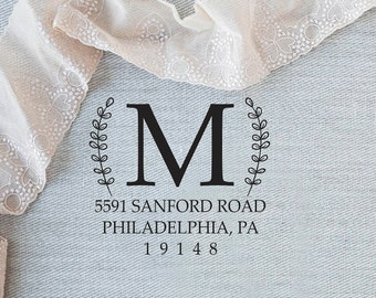 Monogram Address Stamp, Elegant Address Stamp, Initial Address Stamp, Custom Rubber Stamp