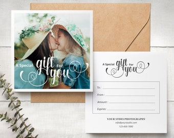 Gift Certificate Photography, Gift Certificate Template, Calligraphy , Photoshop Template, Gift Card 021  INSTANT DOWNLOAD