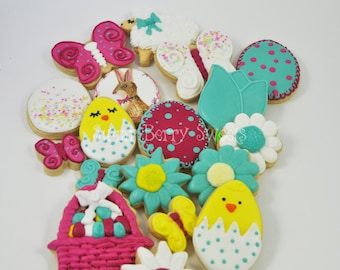 1.5 Dozen Assorted Easter Decorated Iced Sugar Cookies - Spring - fun - colorful -flowers -gift - Easter basket - easter bunny -eggs - chick
