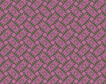 Picnic Daisy Orchid - Heather Bailey 100% Quilters Cotton Yards, Half Yards or Fat Quarters