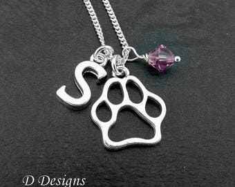 Paw Necklace, Paw Pendent, Personalised Paw Necklace, Silver Plated Necklace, Birthstone Necklace. Paw Print Gifts