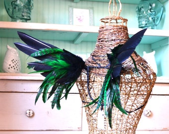 Feather Wings Black and Green Pixie Size Made to Order