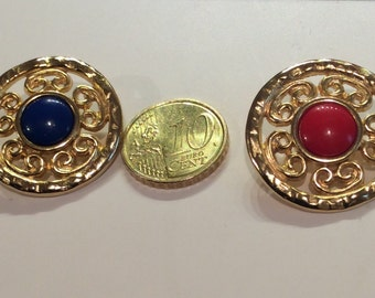 """Buttons  vintage 70s metal center with red or blue 1"""""""