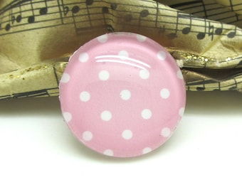 2 cabochons 12 mm glass pink Pastel dots - 12 mm