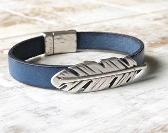 Feather Bracelet, Feather Cuff Bracelet, Blue Leather Bracelet, Stackable Bracelet, Magnetic Clasp