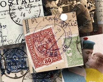 Printable French, German and Italian Vintage Travel Postcards, Stamps in 7/8 Inch Squares for Glass and Scrabble Pendants -- piddix 457