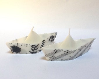 Black And White Handmade Floating Candles| Origami Sailboats Centerpiece| Home Decor Party Decor| House warming Gifts