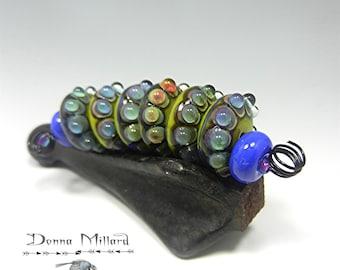 SRA HANDMADE LAMWPWOOK Glass Beads Set Donna Millard lamp work purple teal turquoise grape wine assemblage