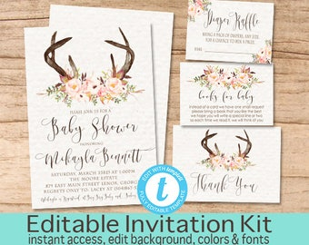 Rustic Floral Baby Shower Invitation, Rustic  Baby Shower Invitation Suite, Rustic Floral baby Invitation Kit, Editable Instant Download