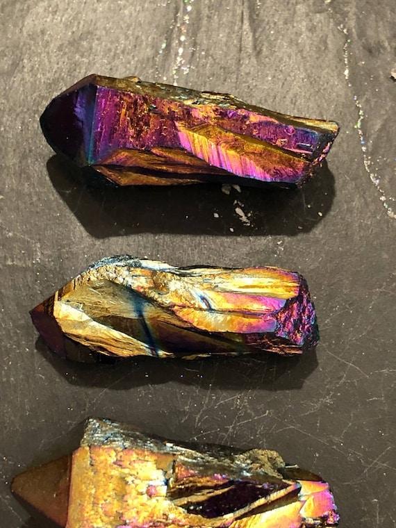 Medium Rainbow Aura Quartz Points, Raw Titanium Aura Quartz Cluster, Aura Quartz Point, Rainbow Titanium, Raw Quartz, Metaphysical