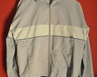 Vintage 60s70s jacket Gray PastelBlue Colorblock ZipUp Size c48 S mens