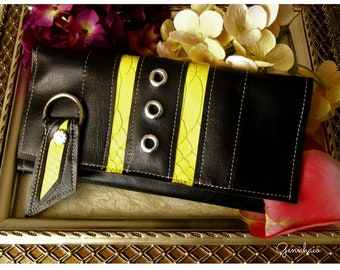 Womens Black Wallet, Yellow Vegan Wallet, Black and Yellow Trifold Wallet, Gift under 60, Wallet Key Fob, Gift Idea, Long Wallet