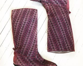 Glacée woven cranberry, green and grey Made in Spain suede tall boots. Size 7.5.