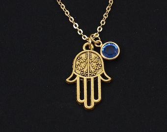 hamsa hand necklace, gold filled, birthstone necklace, gold hamsa charm, yoga jewelry, protection necklace,hand of Fatima,hand of protection