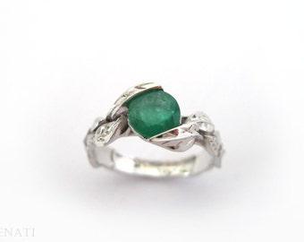 Emerald Leaf Ring, Emerald Engagement Ring, Leaf Engagement Ring, Leaves Ring With Emerald, Floral Forest Emerald Leaves Ring, Natural Ring