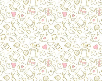 Tea Party in White Sparkle Cotton Fabric from the Wonderland 2 Collection by Melissa Mortenson for Riley Blake Fabrics