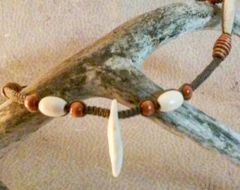 Antiqued Bone and Coyote Tooth Hemp Necklace - Wood Bead Jewelry - Coyote Fang Jewelry - Hairpipe and Tooth Necklace - Coyote Tooth Pendant