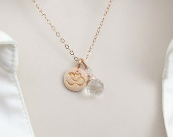 Birthstone Necklace, Rose Gold Necklace, Om Jewelry, Dainty Necklace, Custom Necklace, Crystal Necklace, April Birthstone, Delicate Necklace