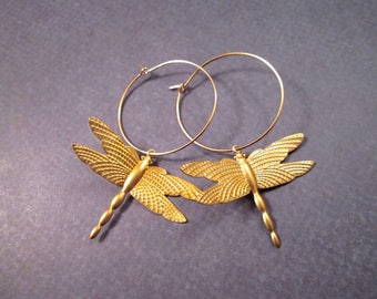 Dragonfly Earrings, Polished Brass Dragonflies, Gold Dangle Hoop Earrings, FREE Shipping U.S.