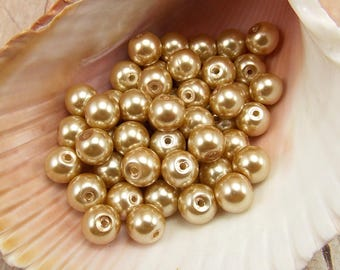 6mm Glass Pearls - Khaki - 75 pieces - Medium Beige - Medium Brown - Tan