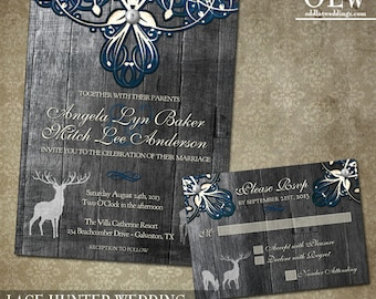 Rustic Lace Wedding Stationery Featuring 2 deer Digital Printable File with grey wood background Invite and RSVP