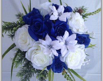 Royal blue bouquet etsy royal blue round bouquet roses blue and white wedding bouquet mightylinksfo