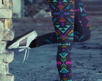 Tribal Tights Tribal Leggings, Aztec Leggings, Festival Leggings, Womens Boho Leggings, Bohemiam Leggings, Geometric Leggings, Yoga Leggings