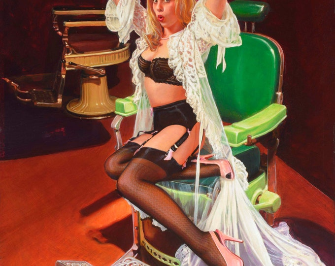 """Featured listing image: SHEER DELIGHT a """"Vancas Girl"""" Pin-Up Daniel VANCAS famous for Elvgren, Vargas Style Pinup Original Painting Barber Chair Lingerie Stockings"""
