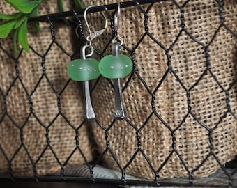 Horse Shoe Nail Earrings with Hand Made Green Beads