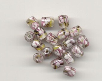 24 Venetian Italian Glass Barrel Vintage Beads 9x12mm