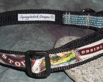 Adjustable Dog Collar from recycled Deschutes Obsidian Stout Beer Labels
