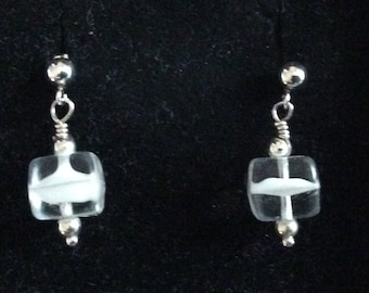 Vintage Glass and Sterling Silver Post Earrings