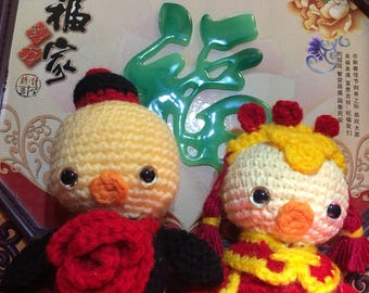 Chinese wedding lovebirds amigurumi // Ready to Ship