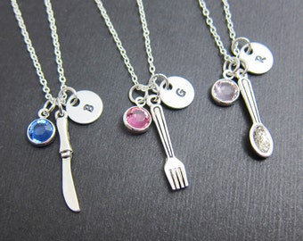 Eating Cutlery BFF Necklace - Spoon, Fork, Knife, food utensils friendship necklace, single only or set of 3