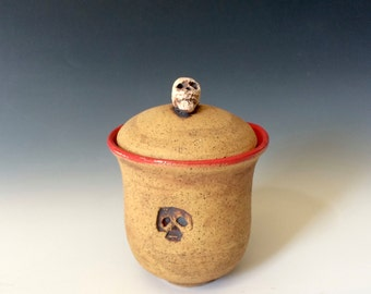 Red Skull Jar, Stoneware Skull Jar with a LId, Skull Pottery, Gift for Halloween, Gift for Day of the Dead