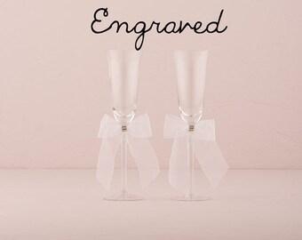 Engraved Wedding Flutes - Personalized Wedding Champagne Glasses - Custom Wedding Toasting Flutes - Wedding Keepsake - Bride and Groom Gift