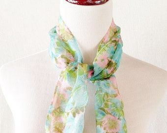 Vintage Pastel Blue Pink and Green Flower Ascot Scarf